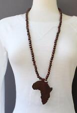 Dark Brown wooden africa pendant necklace beads chain continent wood long