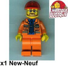 Lego Figurine Minifig constructeur chantier worker orange casque cty0015 NEUF