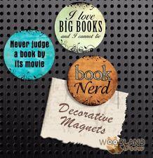 Book Nerd Magnets, Set of 3 Handmade Fridge Magnets, Book Lover Gift Set