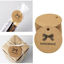 100PCS HANDMADE Wedding Brown Kraft Paper Tag gifts papers Favor Gift Tags