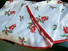 "WHITE COTTON & POLYESTER CHRISTMAS TABLECLOTH~with BELLS & HOLLY~ 60"" diameter"