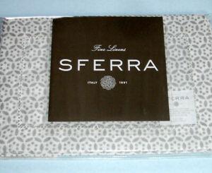 Sferra FILIGREE Cocktail Napkins SILVER Fretwork Print on White Linen SET/4 New