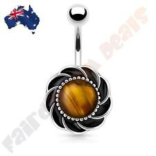 316L Surgical Steel Flower with Tigers Eye Centre Gem Belly Ring