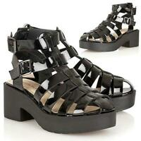 LADIES DOLCIS CHUNKY SOLE HIGH HEEL PLATFORM CUT OUT SHOES GLADIATOR SANDALS SIZ