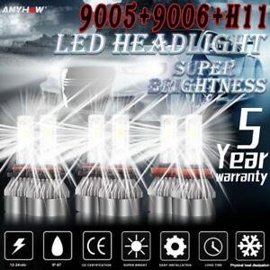 Combo 9005+9006+H11 LED Headlight Hi/Low Beam Bulb 6500K 7000W 980000LM Fog Ligh