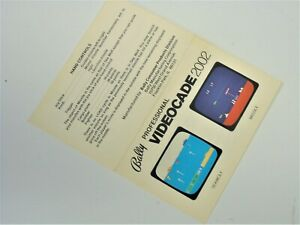MANUAL ONLY NTSC Bally Astrocade Videocade Sea Wolf Missile Video Game System