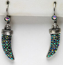 KIRKS FOLLY LITE OF THE DRAGON CLAW LEVERBACK EARRINGS SILVERTONE ~~NEW  RELEASE