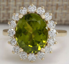 5.53 Carat Natural Peridot 14K Yellow Gold Diamond Ring