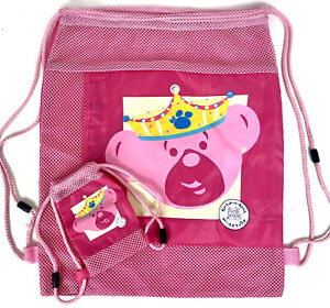 Build-A-Bear Workshop Pink Princess Drawstring Backpack Bag And Mini Bag