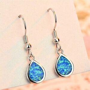 Classic 925 Blue Fire Opal Tear Water Drop Earrings Sterling Silver UK + Bag