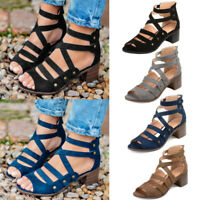 Summer Women Chunky Block Heels Gladiator Sandals Peep Toe Rivet Ladies Shoes