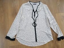 MARKS AND SPENCER CREAM & BLACK SPOTTED BLOUSE SIZE 14