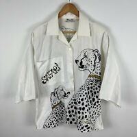 Miss K Hawaii Womens Shirt Top Medium White Animal Print 3/4 Sleeve Y2K Vintage