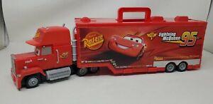 "Disney Pixar Cars Mack Truck 16 Car Hauler Storage Carry Case 19"" Long Mattel"