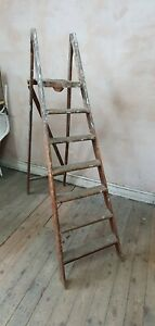 Vintage Wooden Folding Step Ladder Display Prop Garden Shabby Chic folding (9)