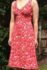 BODEN Dress Cotton Riviera Summer Floral red roses UK Size 10R BEAUTIFUL
