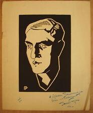 * Bois gravé signé Paul (Pol) Ferjac et dédicacé à Sylvain Bonmariage Num 1/20