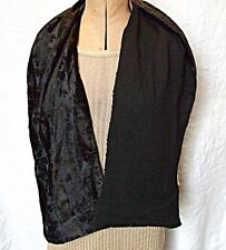 *EXQUISITE 2 SIDED BLACK CUT OUT PATTERN VELVET CREPE SCARF EVENING GOTH SMART