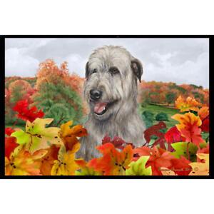 Irish Wolfhound Grey Fall Leaves Floor Mat