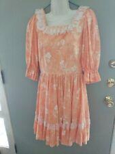 Women's Square Dance Dress Vintage-style Handmade Floral print Size S
