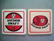 Anchor Draft White Red Square Mat Coaster x 2