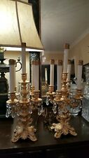 Antique Pair of French Ormolu Candelabra Electrified Gilt Gold Crystal Prisms
