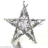 Lichterkette Rattanstern 30cm Silber Weihnachten Deko 1,5m Kabel 20 Leuchten