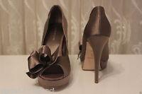 Karen Millen Bow Peep Toe Taupe Platform High Satin Wedding Party Shoes UK 6 39