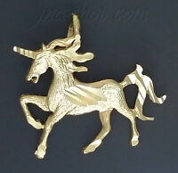 14K Solid Yellow Gold Unicorn Diamond-Cut Charm Pendant