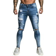 GINGTTO Men Jeans Ripped Skinny Stretch Destroyed Spandex Blue Biker Denim Pant