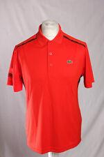Lacoste Sport Ultra Dry Polo Shirt Red Black Men's Size 4 Medium NEW!