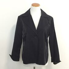 Chicos Womens 2 Black Shimmer Blazer Jacket Gorgeous Fully Lined US Size L / 12