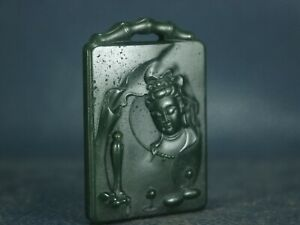 Old Chinese natural jade hand-carved statue of Kwan-yin Amulets GuanYin pendant