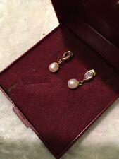 9ct Gold Pearl & Amethyst Pierced Earings