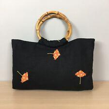 Umbrella Purse Bamboo Handles Black Linen Handbag