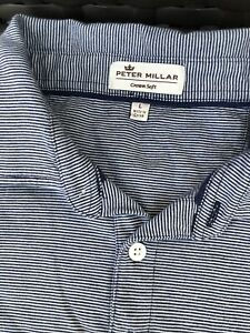 Men's Peter Millar Shirt Top Polo L Crown Soft Blue Stripe Pima Cotton Silk Soft