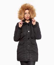 Black Parka Coat Size 18 Ladies Womens Faux Fur Hooded Jacket