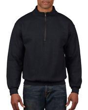 Gildan Heavy Blend Sweatshirt Cadet Collar Zip Casual Smart Jumper Men's S-3xl Black M