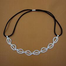 Bridal Lips Crystal Rhinestone Chain Wedding Headband Elastic Hair Band