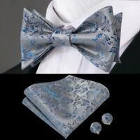 USA Blue Gray Floral Self Bow Tie Classic Mens Silk Necktie Bowtie Set Wedding