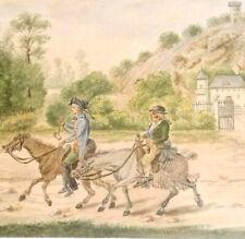 Voyageurs à VERSAILLES en Fevrier 1873 Aquarelle Animée XIXe signée FOURNIER