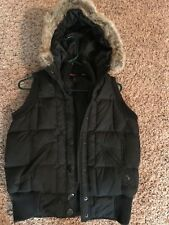 DKNY Active Black Women's Hooded Faux Fur Sleeveless Vest Size Small