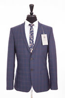 Men's Suit Alexandre Savile Row Slim Fit Blue Check Wool 38R W32 L31 RRP£249.00