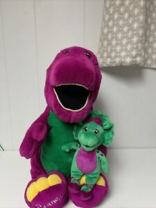 "Large Jumbo 26"" Barney the Dinosaur 10"" baby bop Stuffed plush Animal"