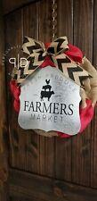 Red Black Burlap Farmhouse Wreath, Farmhouse Kitchen Wreath, Farmers Market