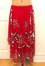 SILVER SEQUIN CHIFFON SKIRT BELLY DANCE INDIAN BOLLYWOOD BELLYDANCE SIZE UK10-16