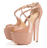 Womens patent leather high heel stilettos platform straps sandals open toe shoes