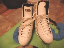 New listing Riedell White Leather Ice Skates, Model 115W, Size 8, Blade Covers/Carry Bag