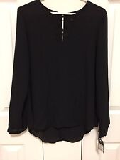Women's Wessivo Long Sleeves Blouse with Small Lace Accent at Front Size Medium