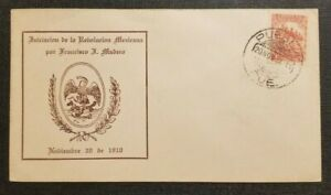 1934 First Day Cover Puebla Mexico Mexican Revolution Francisco I Madero Cachet
